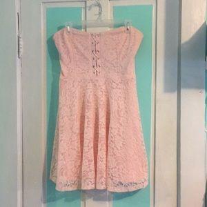 Strapless lace skater dress